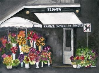 Nancy Holleran - Prague Blumen Shop Watercolor on Paper, Paintings