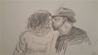 Anna Weichert - The Second Kiss Pencil on Paper, Drawings