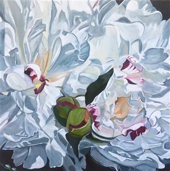 Helena McConochie - Waterdrops on Peonies 'Natalie' Oil on Canvas, Paintings