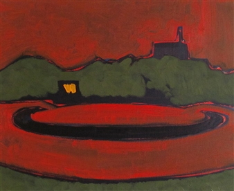 Akihito Izumi - Night Roundabout Oil on Canvas, Paintings