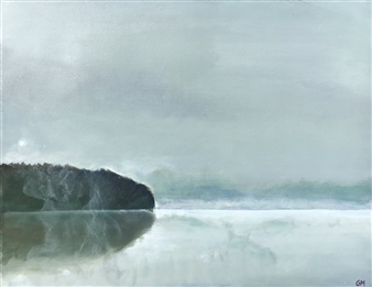 Gabriella Mirabelli - Croton Reservoir Fog Acrylic on Canvas, Paintings