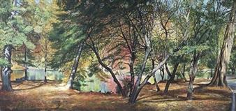 Alexandr Mischan - Autumn 1 Central Park NY Tempera on Canvas, Paintings