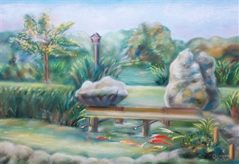 Ognyan Kostov Kolev - Jardín Japonés Pastel-Chalk on Special French Paper, Paintings