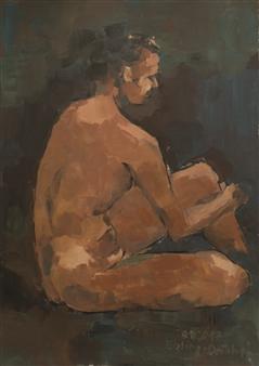 Jutta Ebeling-Dehnhard - Seated Male Nude Acrylic on Carton Board, Paintings