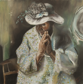 Cuquis Quiroz - A Prayer for New Orleans Pastel on Paper, Paintings