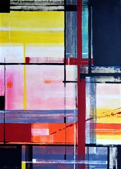 Abenamar Bauta Delgado - Desayuno con Mondrian Acrylic on Canvas, Paintings