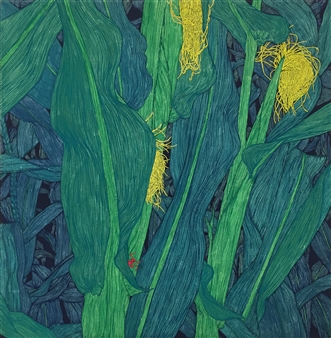 Su-Jeong NAM - Yellow Tassel Powder, Ink on Paper, Paintings