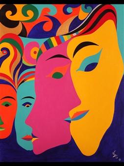 Diego Velez - La Mascarada Acrylic on Canvas, Paintings