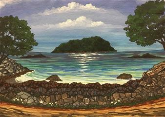 Miki Hatano - Mt. Maunganui Acrylic on Canvas, Paintings