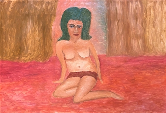 Merab Kardava - Woman and the Curtain Oil on Canvas, Paintings