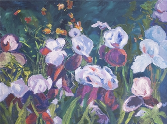 Margaret Adams - Iris Glade Oil on Canvas, Paintings