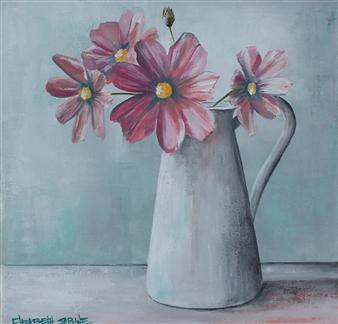 Elizabeth Sabine - Flowers in Vase Acrylic on Canvas, Paintings