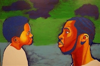 Markeith Woods - The Conversation Acrylic on Board, Paintings