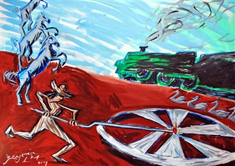 Benjamin L.M. - The Wheel Begins To Turn Oil on Canvas, Paintings
