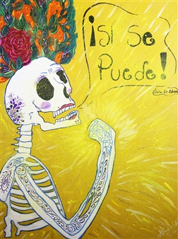 Hugo Ximello-Salido - Si Se Puede Acrylic & Ink on Canvas, Paintings