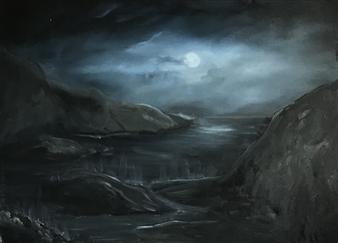 Tsila Mackay - Game of Shadows Oil on Canvas, Paintings