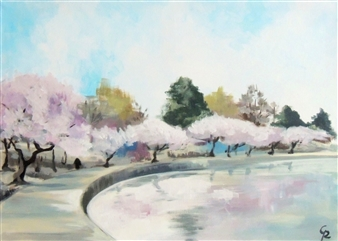 Rita Galambos - Japanese Cherry Trees Acrylic on Canvas, Paintings