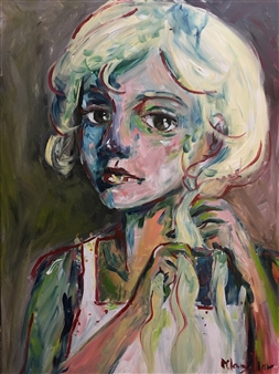 Milana Alaro - Midnight Thoughts Acrylic on Canvas, Paintings