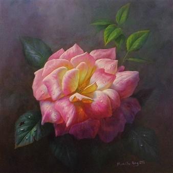 Rodolfo Regaño - Light Pink Oil on Canvas, Paintings