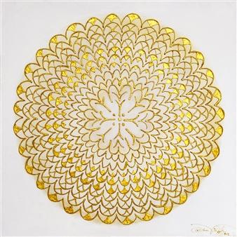 Diana Wunsch - Heaven / Awareness Acrylic & 24 Karat Gold on Canvas, Mixed Media