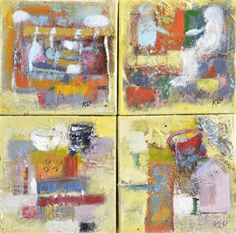 Kerstin Lundin - 2 plus 2 Oil with Mixed Media on Canvas, Mixed Media
