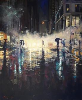 Emanuele Biagioni - American Smoke Acrylic on Canvas, Paintings