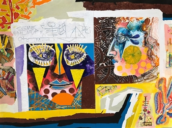 Michael Dolen - Two Circus Performers Mixed Media on Paper, Mixed Media