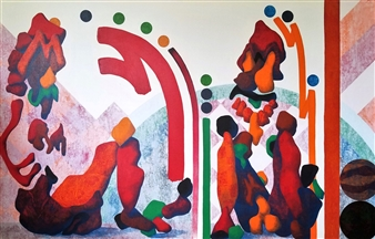 George Casprowitz - Team Players Acrylic on Canvas, Paintings