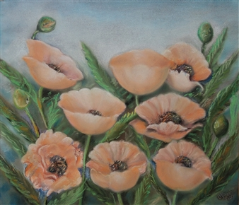 Ognyan Kostov Kolev - Poppies Pastel-Chalk on Special French Paper, Paintings