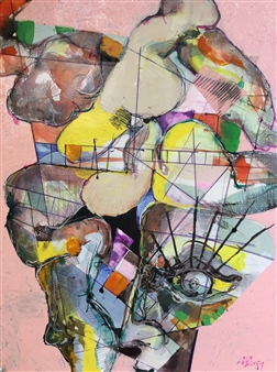 Michael Dolen - Day Train Mixed Media on Paper, Mixed Media