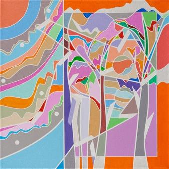 Ai-Wen Wu Kratz - Color Logic II / Orange Acrylic on Canvas, Paintings