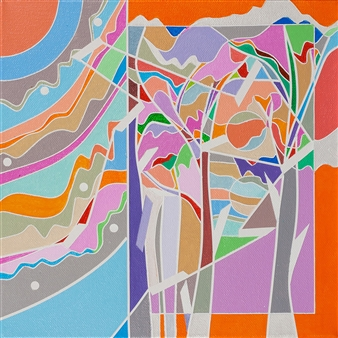 Ai-Wen Wu Kratz - Color Logic II / Orange Acrylic on Canvas, Paintings