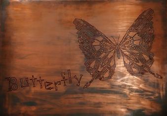 Yoshiki Uchida - Butterfly Mixed Media & Metal on Board, Mixed Media