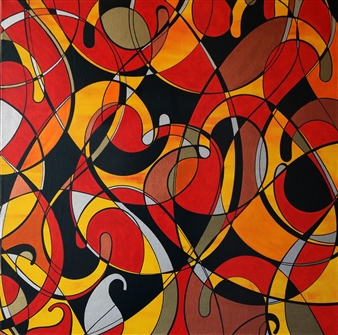 Sheetal Shaw - Intermingling Boteh 4 Acrylic on Canvas, Paintings
