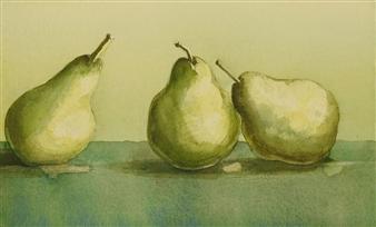 Pauli Zmolek - Three Pears in Watercolor Watercolor on Paper, Paintings
