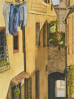 Nancy Holleran - Street in Montepulciano Watercolor on Paper, Paintings