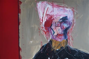 Philippe Thélin - Wounded in the Head II Acrylic on Canvas, Paintings