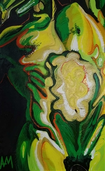 Ashley Morgan - Green & Yellow Torso on Black Acrylic on Canvas, Paintings