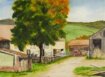 Nancy Holleran - Italian Dairy Farm Watercolor on Paper, Paintings
