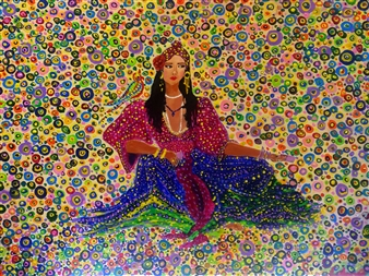 Salome Chelidze - Gypsy Woman Oil & Acrylic on Canvas, Paintings