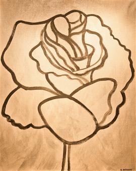 Aila Snickars - Rose on Silver Acrylic on Canvas, Paintings
