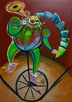 Seo - Portrait of a Clown Blowing a Trumpet Oil on Canvas, Paintings