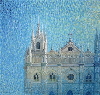 Gilberto Arriaza - Catedral de Santa Ana Oil on Canvas, Paintings