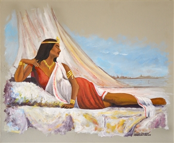 Ashraf Elsharif - Nubian Queen 004 Acrylic on Canvas, Paintings
