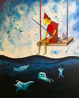Salvatore Petrucino (Totó) - At The Bottom Of The Sea Acrylic on Canvas, Paintings