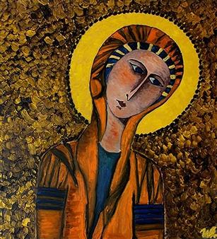 Iva Milanova - Madonna Oil on Canvas, Paintings