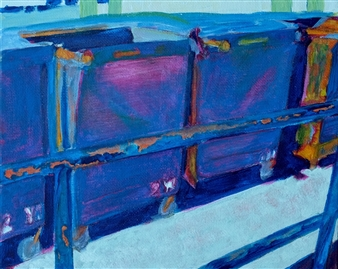 Martin Randall Joyce - Blue Railing with Dumpsters Acrylic on Canvas Board, Paintings