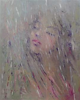 Becky Sungja Kim - Dancing in the Rain Oil on Linen, Paintings
