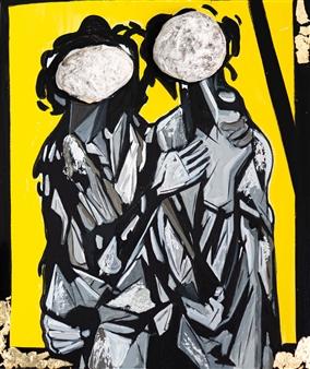 Sahar Khalkhalian - Memories of My Heart (Yellow) Acrylic &  Mixed Media on Canvas, Mixed Media