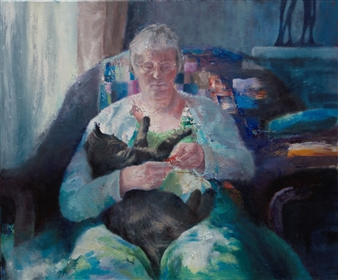 Christine Storey-Lange - Morning Room Egg Tempera, Oil Paint, & Oil Pastel on Canvas, Paintings
